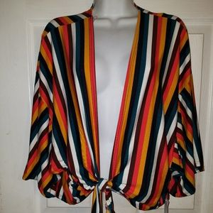 Charlotte Russe Front Tie Blouse Striped